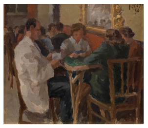 Al tavolo da gioco 1950 - su cartone 31x27 (a)
