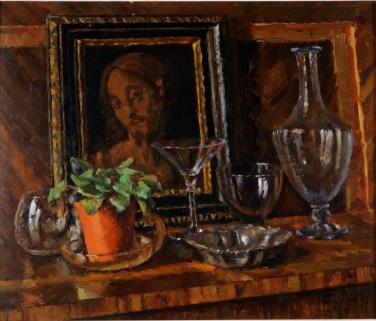 Bicchieri azzurri con quadro di Cristo 1969 - olio su cartone 48 x 41 (b)