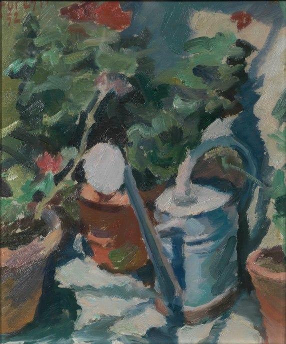 L'annaffiatoio 1952 – olio su cartone 26x31 (a)