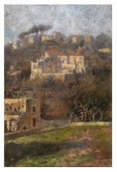 La collina di Capodimonte a Napoli 1920 - olio su cartone 27x40 (a)