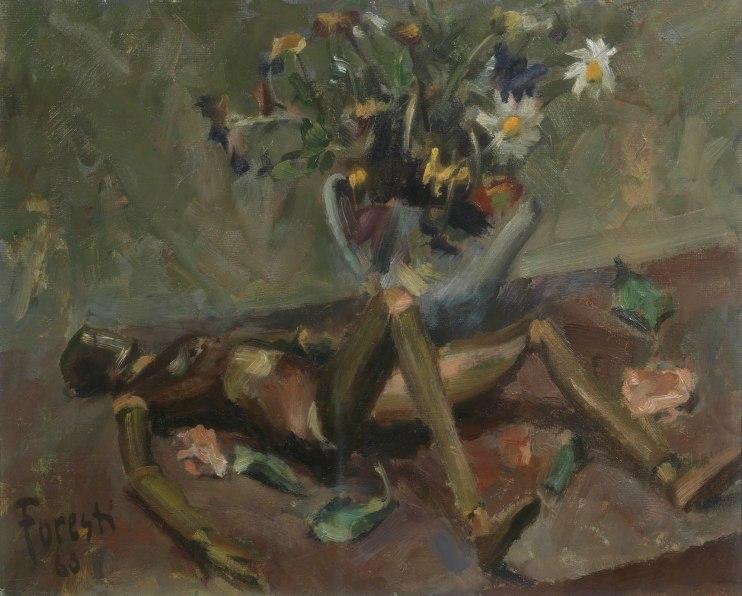 Manichino con fiori 1960 - olio su cartone 49x38 (a)