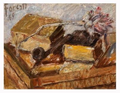 Natura morta con libri e fiore secco 1969 . olio su cartone 28x22 (a)