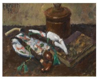 Natura morta con pipe e tabacchiera 1959 . olio su cartone 28x30 (a)