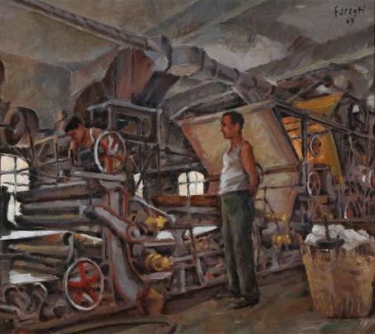 Nella cartiera di San Marcello Pistoiese 1949 - olio su cartone 48X 42 (c)