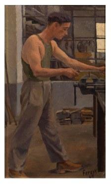 Operaio alla mola 1949 - olio su cartone 20x30 (a)