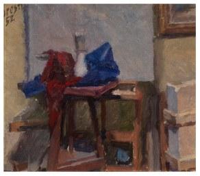 Pennelli con drappi rosso e blu 1952 - olio su cartone 29x27 (a)
