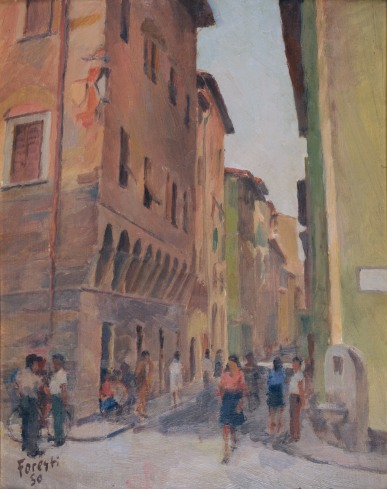 Via dell'isola delle Stinche a Firenze 1950 - olio su cartone 38 x 49 (b)