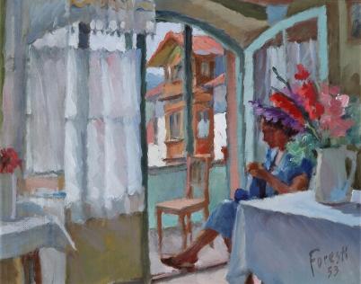 Zia Maria a Colle Isarco 1953 - olio su tela 48x40 (c)